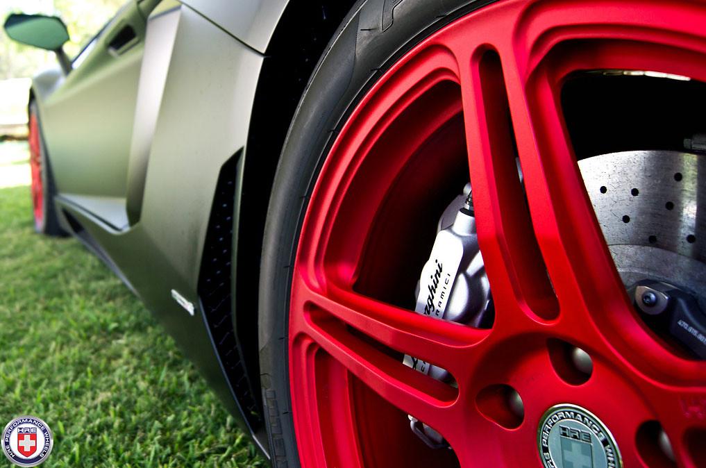 lamborghini aventador lp700 matte black on hre p47sc satin red teaser by hre wheels