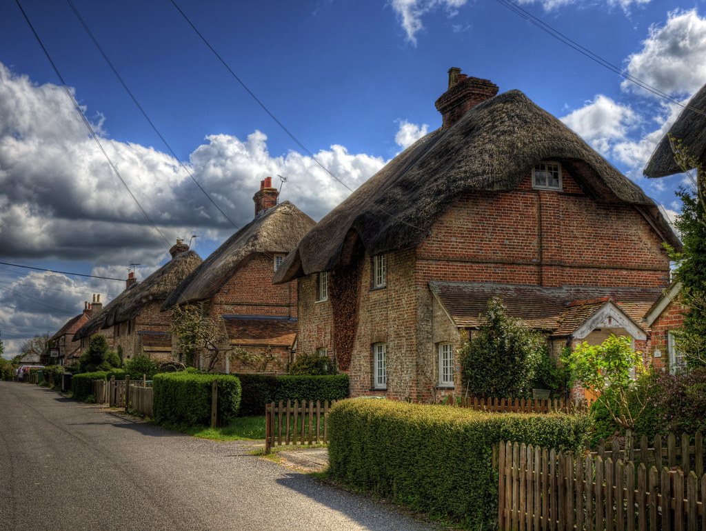 A Row Of Thatched Houses On East Stratton Thatched