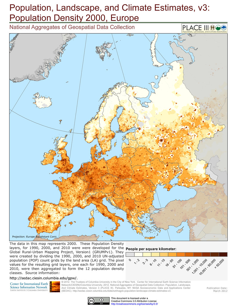 ... Population Density 2000, Europe | By SEDACMaps