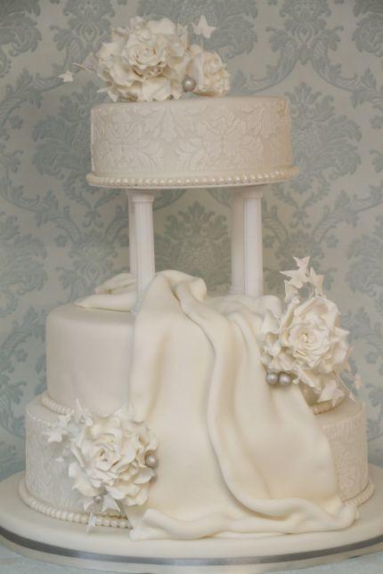 Hochzeitstorte elegant exklusiv edel damaskmuster weiß  Flickr