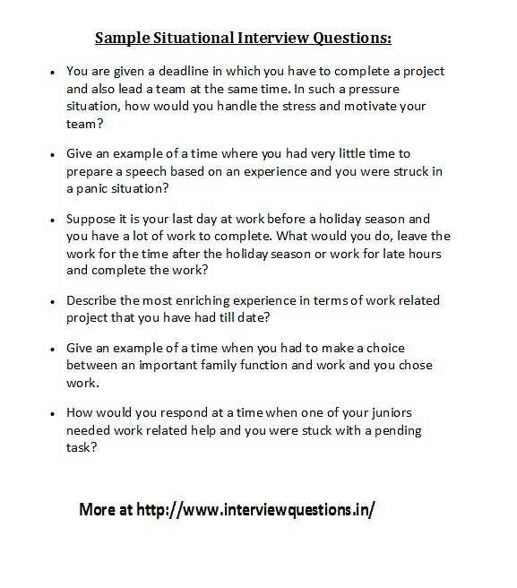 behavioral and situational interview questions Interview question for auto damage adjuster trainee in woodbury, nyall behavioral and situational questions.