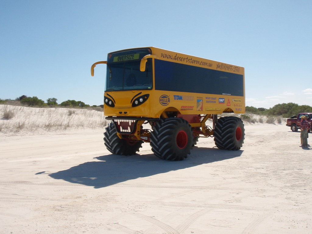 School Bus Monster Truck in the dunes | Lancelin Monster ...