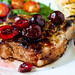 Grilled Pork Chops with Balsamic Pickled Cherries