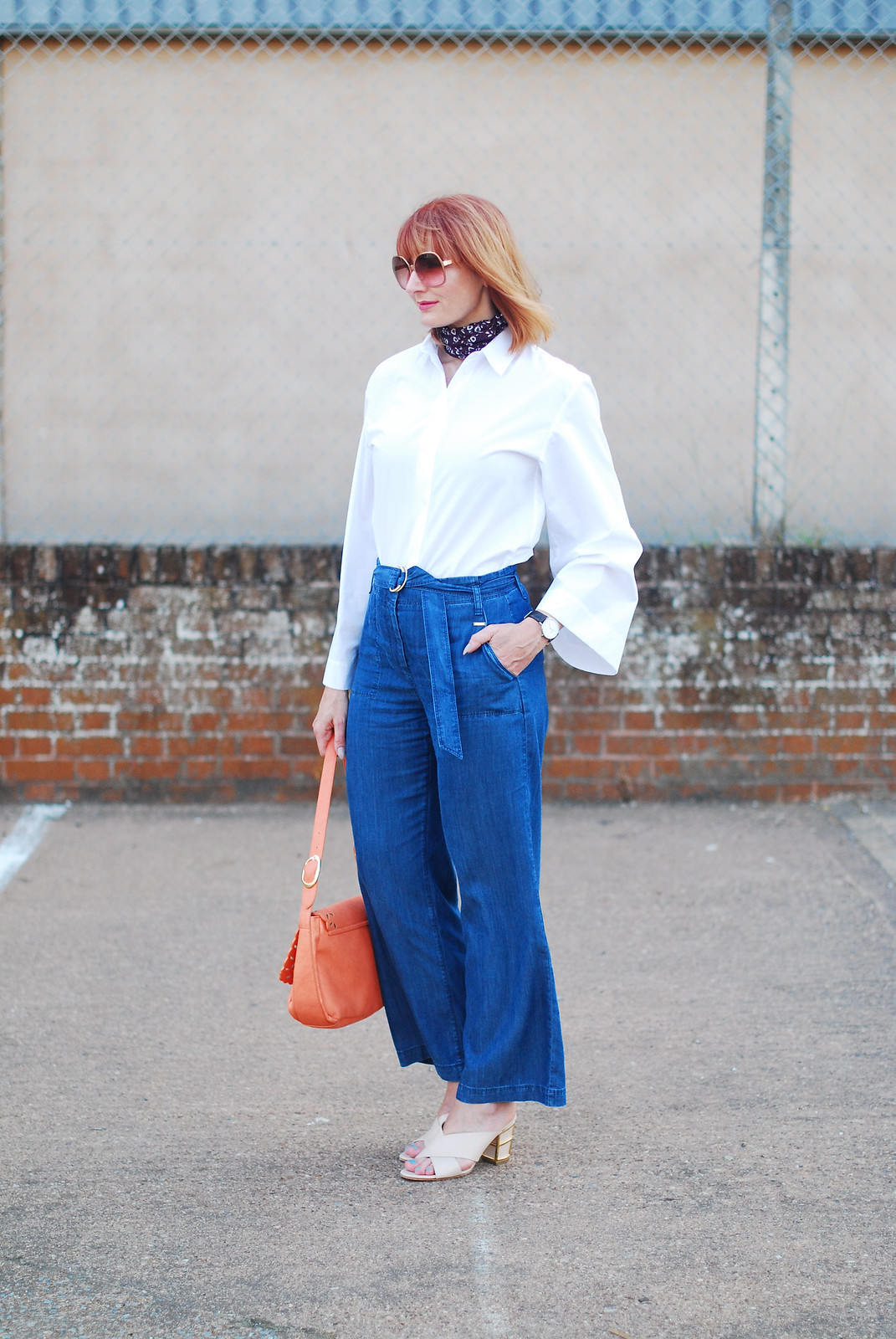 Styling a basic white top and denim: Marks & Spencer white bell-sleeve shirt and wide leg cropped jeans | Not Dressed As Lamb