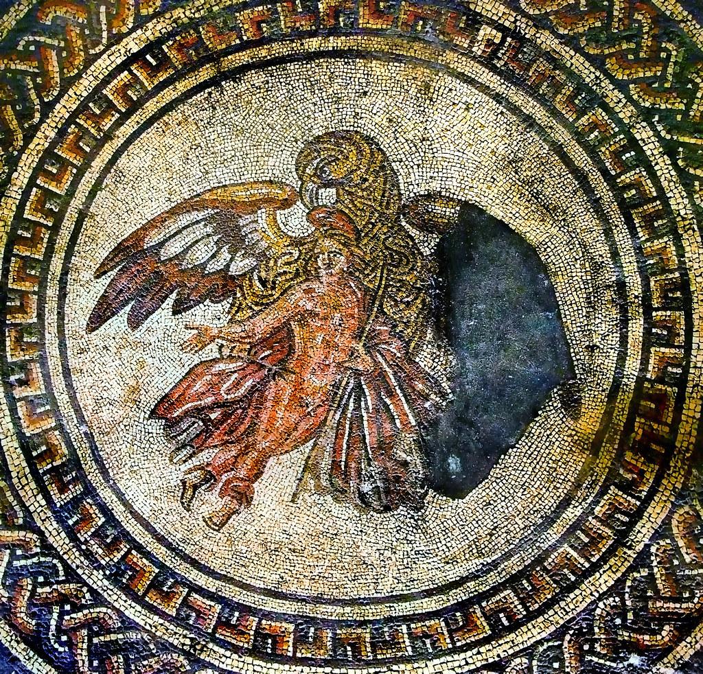 Ganymede Amp Eagle Mosaic At Bignor Roman Villa This