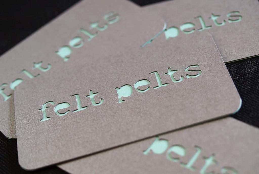 Custom Die Cut Business Cards - Felt Pelts.com | Duplexed Di… | Flickr