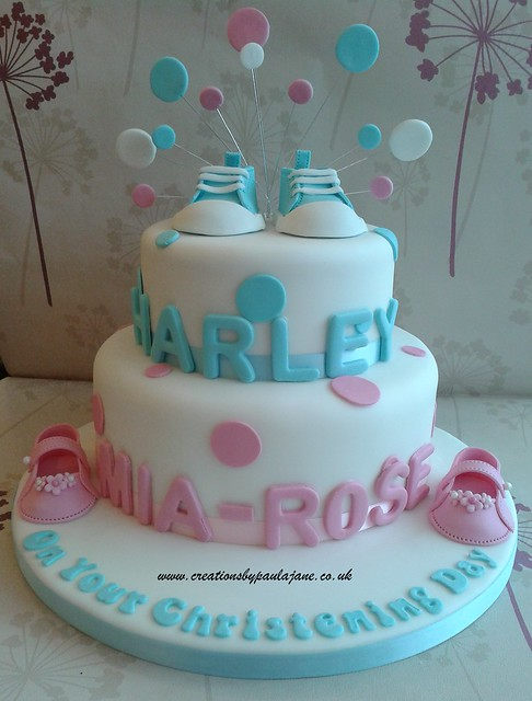 Christening Cake Designs For Twins : Twins Christening Cake Flickr - Photo Sharing!