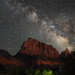 The Milky Way over The Watchman in Zion National Park