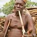 Taneka Beri fetisher smoking traditional pipe. Pays Taneka, Benin
