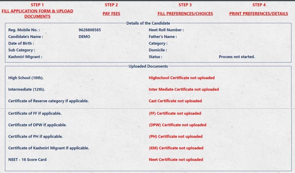 Uttarakhand MBBS Application Form