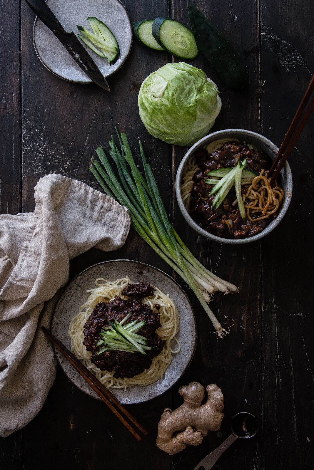 zhajiangmian & jajangmyeon | two red bowls