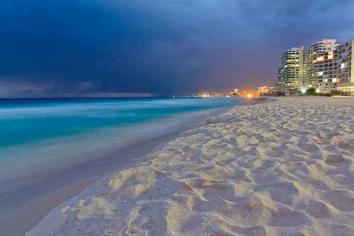 Distant Lights in Caribbean Blue Night - Cancun Mexico [Explore #2, THANK YOU] | by Maria_Globetrotter