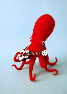 Red Octopus & His White Ukulele  (non-winter/non-drunk version) | by hine