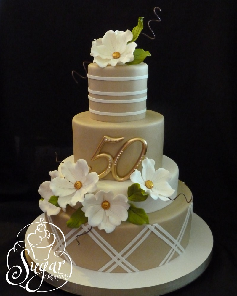 50th anniversary cake flowers and leaves are gumpaste for 50th wedding anniversary cake decoration ideas