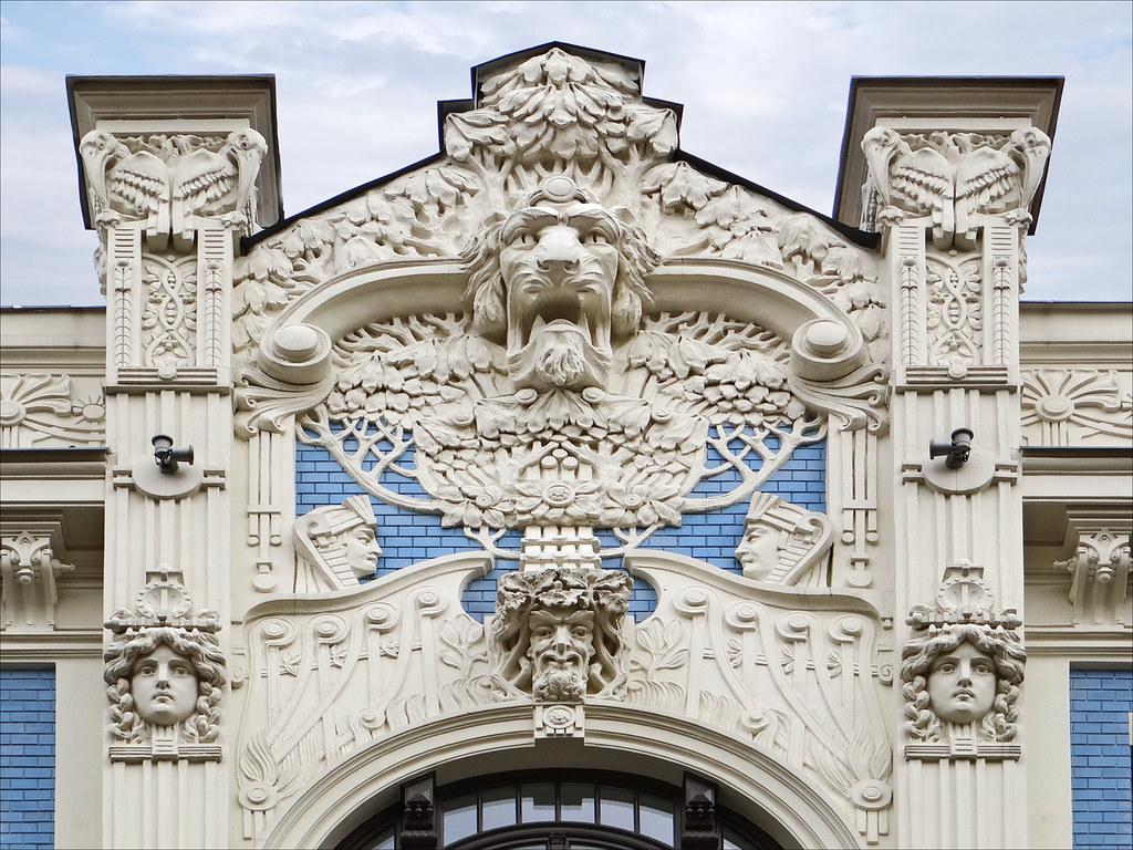 Immeuble art nouveau riga vue de la partie haute du - Art nouveau architecture de barcelone revisitee ...