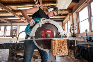 Tara Using the Big Saw | by goingslowly