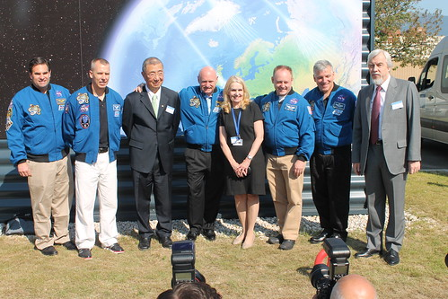 ESA and NASA astronauts with Samuel Ting and CERN Director General arriving at  the AMS 2 Control Centre | by ESA_events