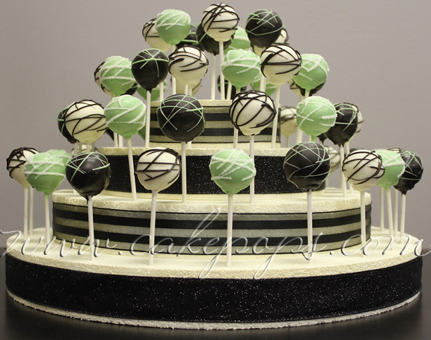 green black white wedding cake pop display www cakepops co