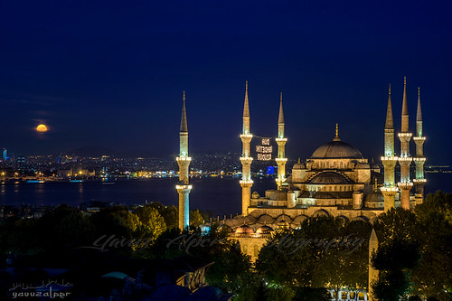 Sultanahmet Mosque and Rising Full Moon | by Yavuz Alper