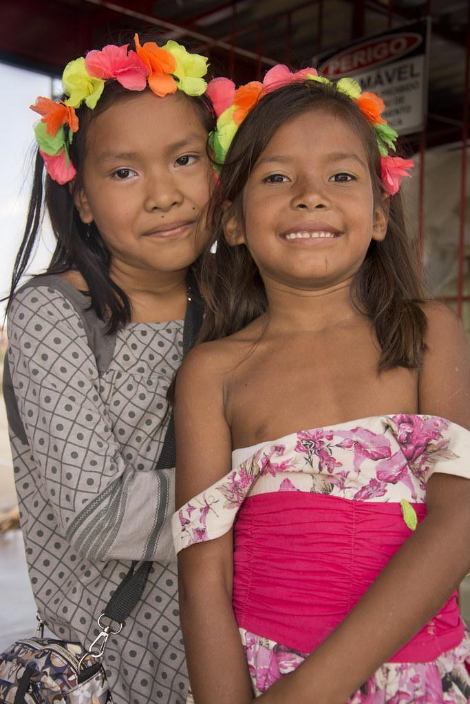 2 Indian Girls  Awaiting Their Canoe, Feijo, Acre, Brazil -1420