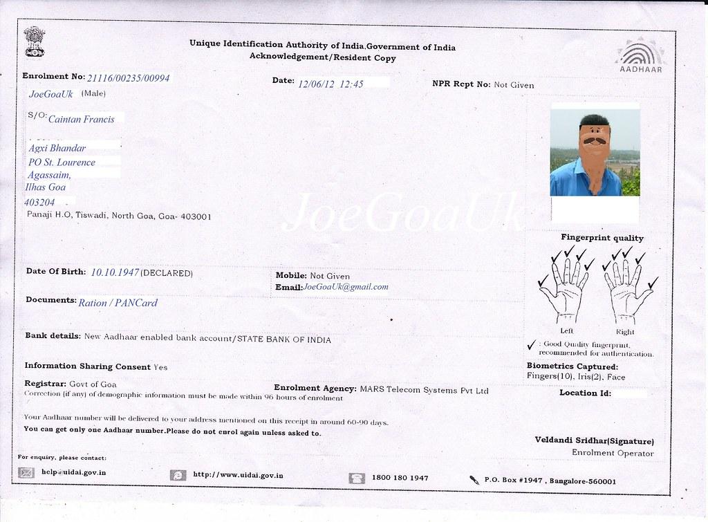 Registration Receipt Card Card Registration Receipt
