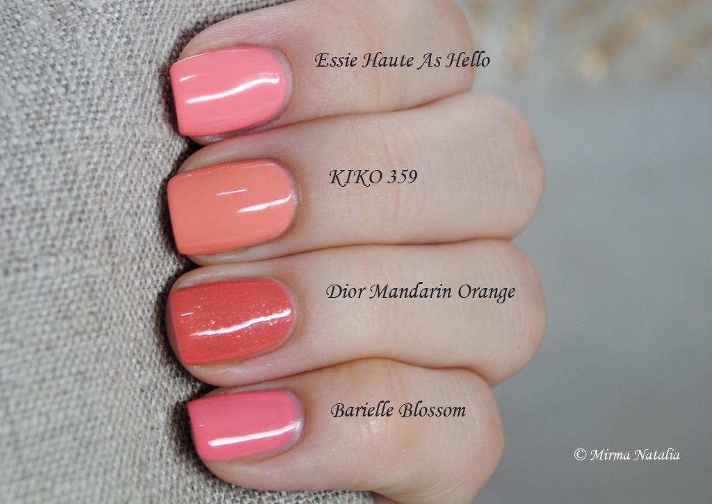 Essie Haute as Hello vs. KIKO 359 vs. Dior Mandarin Orange ...