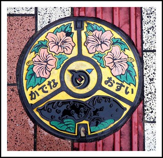 HIBISCUS FLOWERS & SWEET POTATO MANHOLE COVER | by Okinawa Soba (Rob)