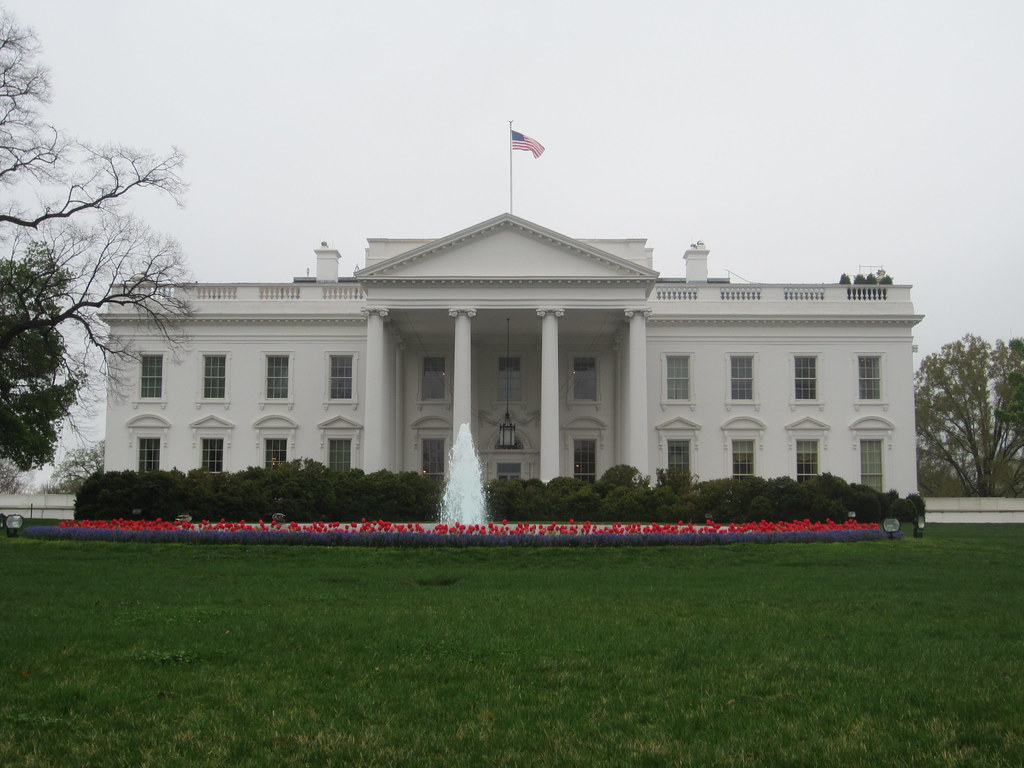 the white house front yard lawn in washington dc usa