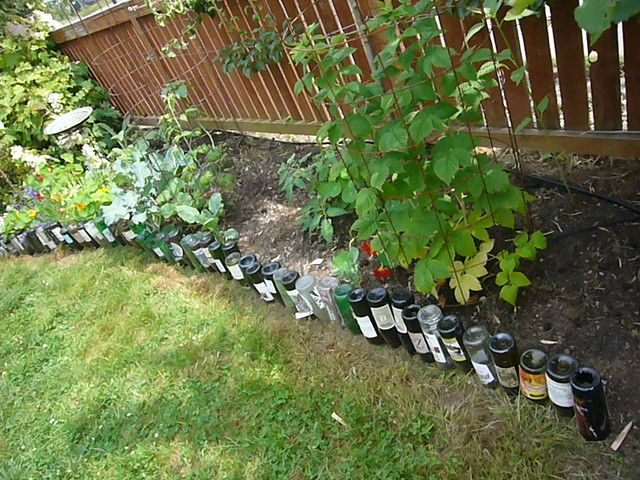 Wine bottle garden border flickr photo sharing for How to use wine bottles in the garden