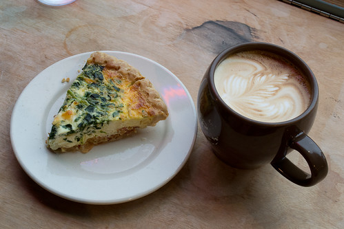 Latte and quiche, spinach Florentine | by JavaJoba