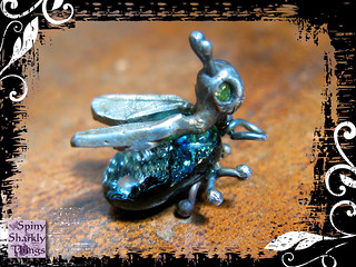Pendant Silver Dichroic Glass Bug Peridot Eyes 03 | by Spiny Sharkly Things