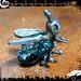 Pendant Silver Dichroic Glass Bug Peridot Eyes 03