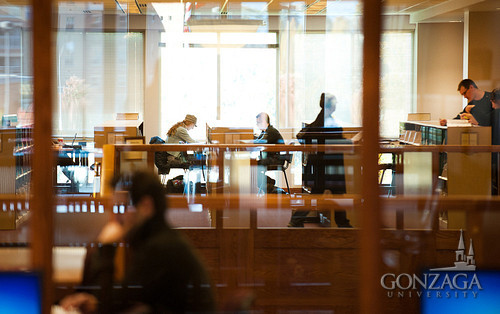 Students studying in the law library