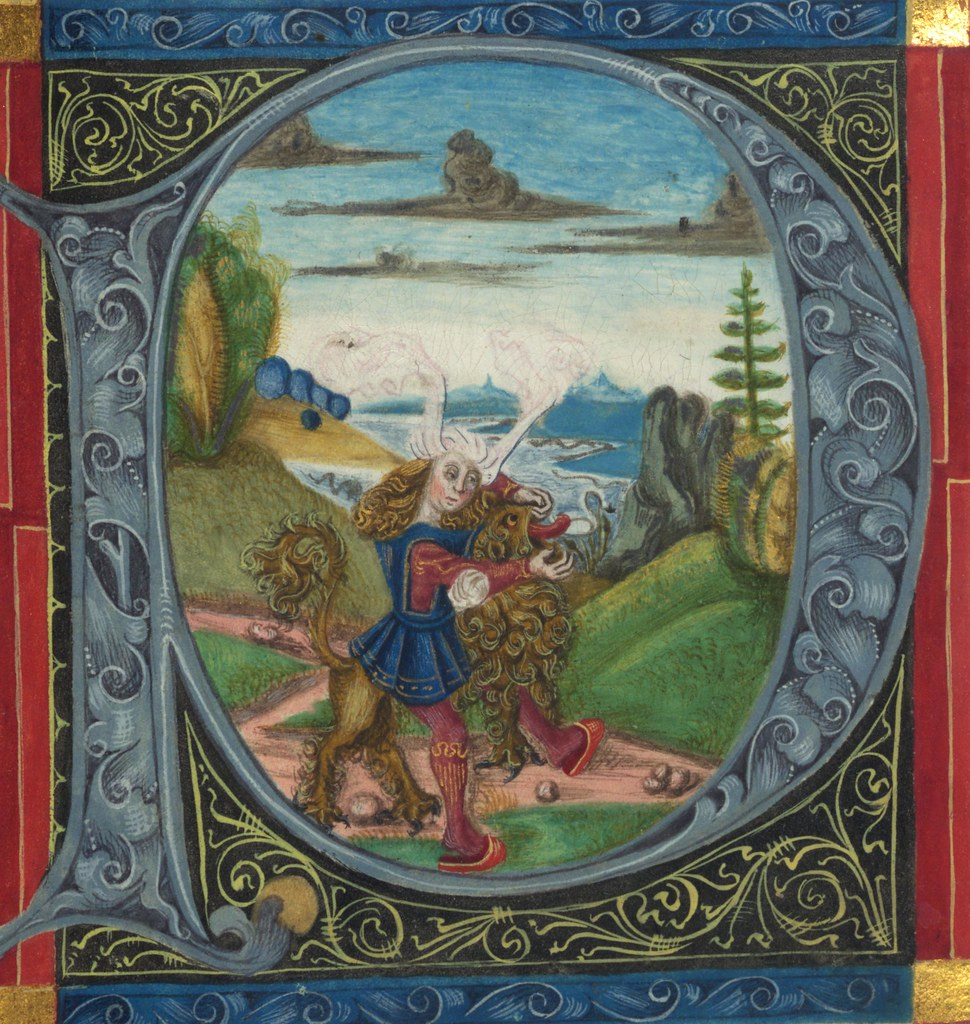 illuminated manuscript  bible  part   samson kills the lio