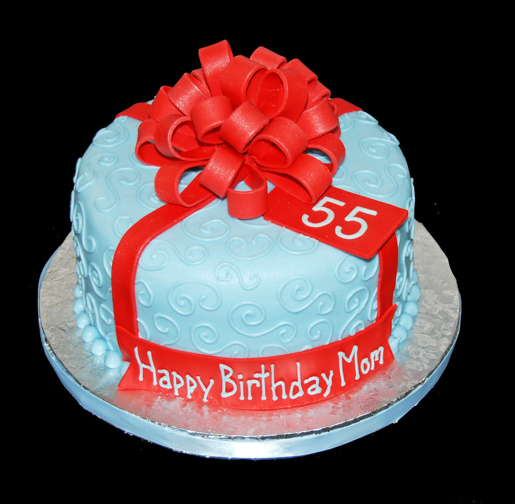Light Blue 55th Birthday Cake Topped With A Large Red Bow Flickr