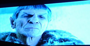 Face of pain, the unthinkable happened, Spock, wearing a fur trimmed coat, tells his story of the destruction of a populated planet, Romulus, and subsequently Vulcan, Alpha Quadrant, fiction, Star Trek film 2009, on TV, Seattle, Washington, USA | by Wonderlane