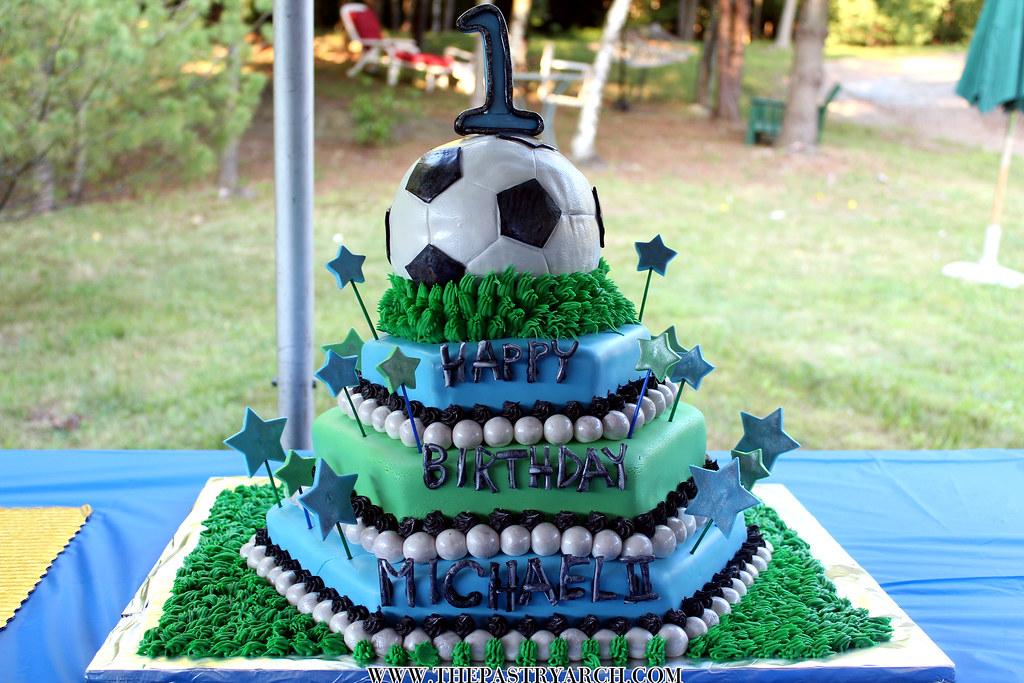 4 Tiered Soccer Ball Fondant 1st Birthday Cake By Tony Th Flickr