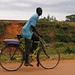Riding a bike in Kampala