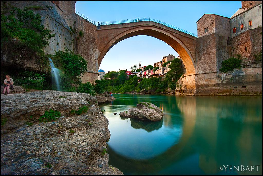 Mostar Stari Most The Old Bridge At Dusk Stari Most
