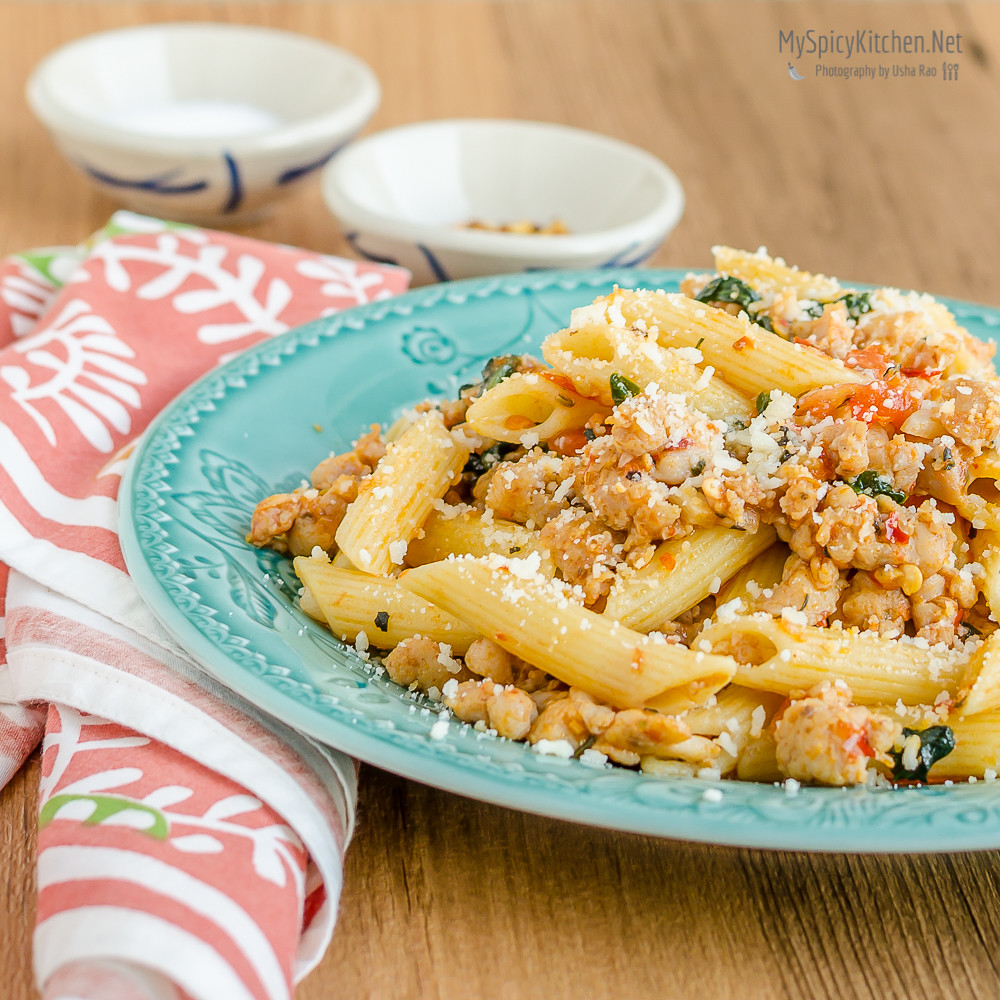 Blogging Marathon, Cooking Carnival, Protein Rich Food, Cooking With Protein Rich Ingredients, Cooking With Chicken, Penne Pasta with Hot Italian Sausage, Sausage, Hot Italian Sausage,  Penne Pasta, Chicken Sausage, Italian Chicken Sausage,