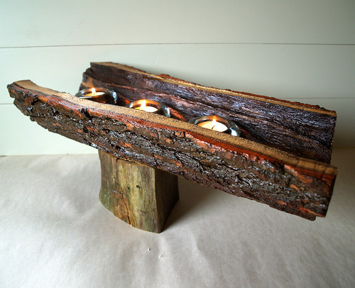 Rustic wood centerpiece reclaimed eco friendly wo