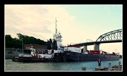 Tug Michigan and Barge Great Lakes under Peace Bridge Buffalo, NY | by Jodi:)