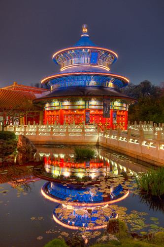 Epcot - Temple Reflection | by Jeff Krause Photography