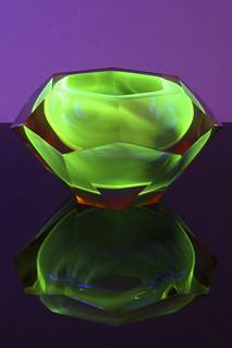 Mandruzzato faceted Uranium Sommerso glass bowl, Italy circa 1960's | by afterglowretro
