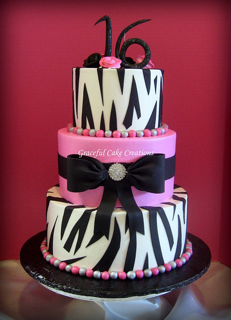 Zebra Design Birthday Cake : Hot Pink and Zebra Print Sweet Sixteen Birthday Cake ...