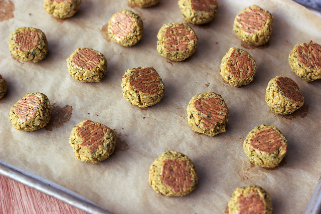 Baked Falafel Bites with Creamy Tahini Dressing - Gluten-free + Vegan
