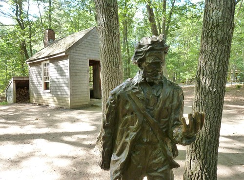 Thoreau with replica house
