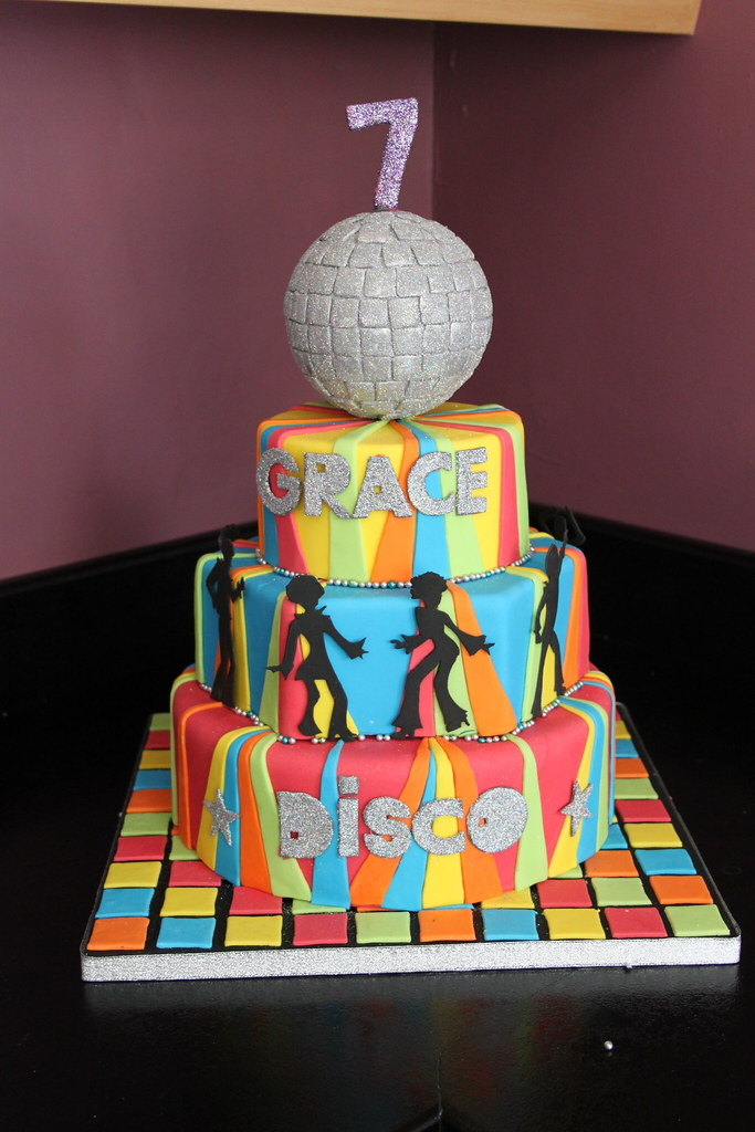 Disco Party Cake Images : DISCO CAKE disco glitter ball cake with disco dancers ...