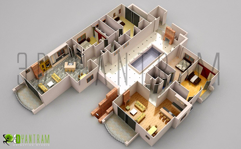 3d office floor plan design which everyone can for Office layout design 3d