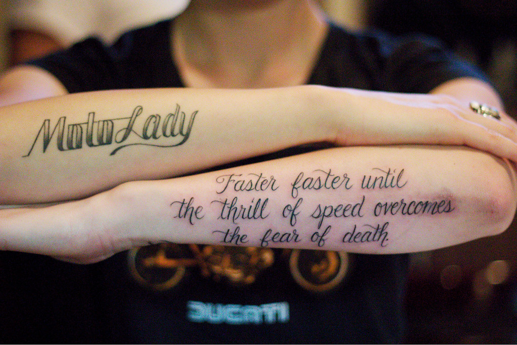 Faster faster quote from hunter s thompson tattoo by for Hunter s thompson tattoos